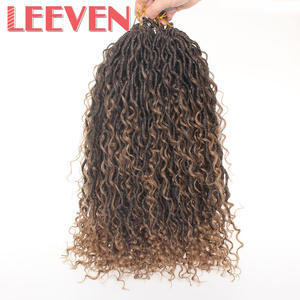 Leeven Braids Curls-End Hair-Bohemian Crochet Faux-Locs Goddess Boho Synthetic Ombre