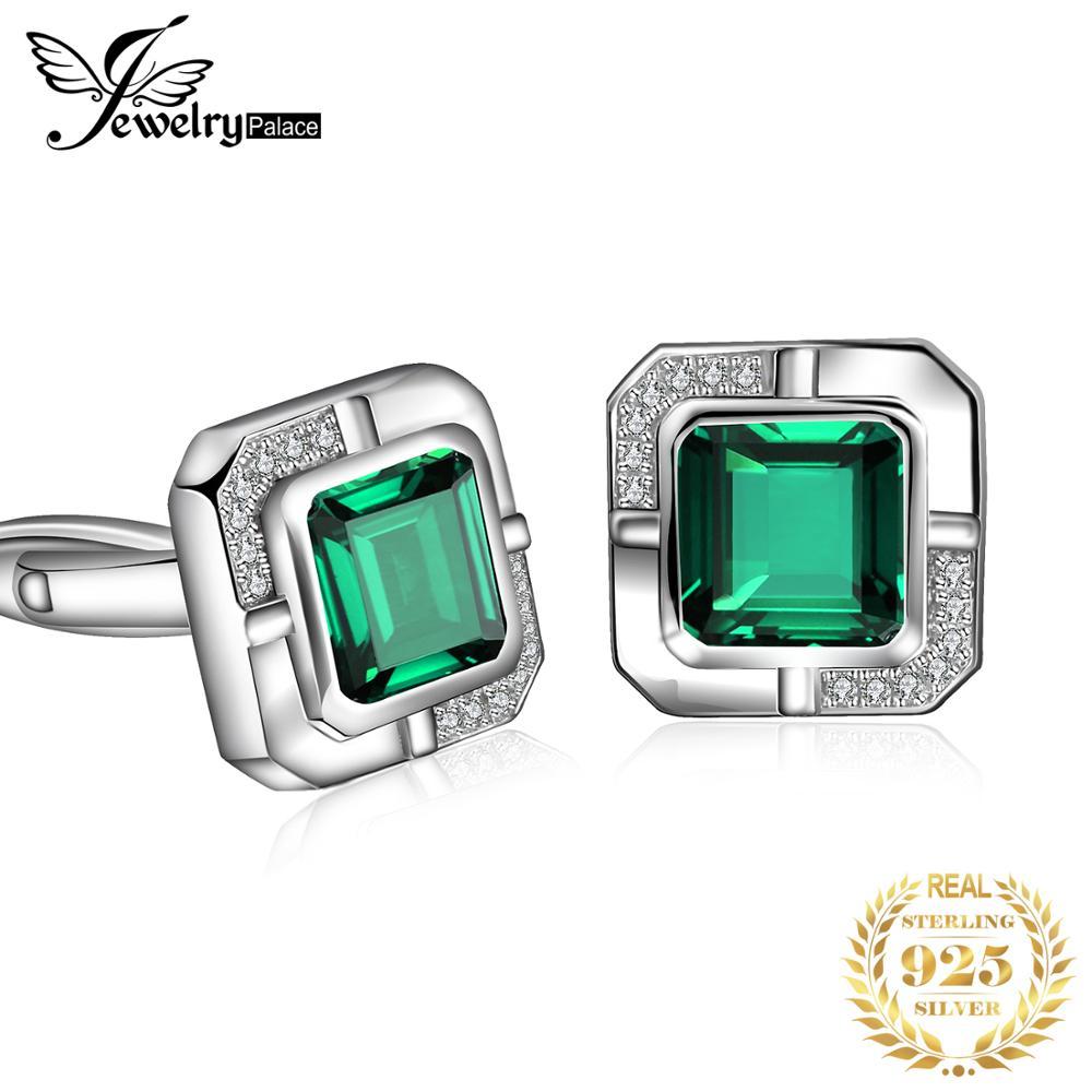 JewelryPalace Men Luxury Created Nano Russian Emerald Anniversary Wedding Cufflinks 925 Sterling Sliver
