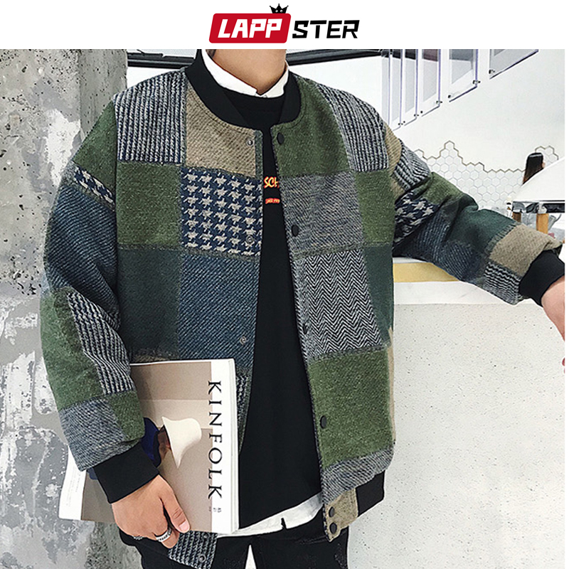 LAPPSTER Autumn Men Harajuku Plaid Bomber Jackets 2020 Mens Japanese Streetwear Windbreaker Korean Fashions Baseball Jackets