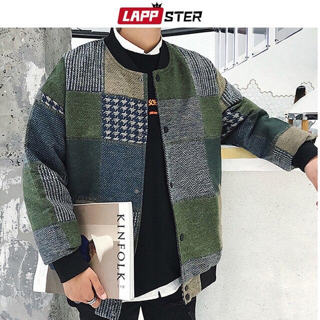 LAPPSTERฤดูใบไม้ร่วงHarajukuลายสก๊อตเสื้อแจ็คเก็ตเครื่องบินทิ้งระเบิด 2020 Mensญี่ปุ่นStreetwearเกาหลีแฟชั่นเบสบอลแจ็คเก็ต