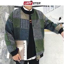 Lappster秋男性原宿チェック柄ボンバージャケット 2020 メンズ日本ストリートウインドブレーカー韓国ファッション野球ジャケット