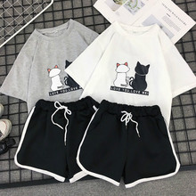 Milinsus summer 2019 Tshirts top and shorts two piece set tracksuit Female Striped Beach casual shorts 2 piece outfits for women все цены