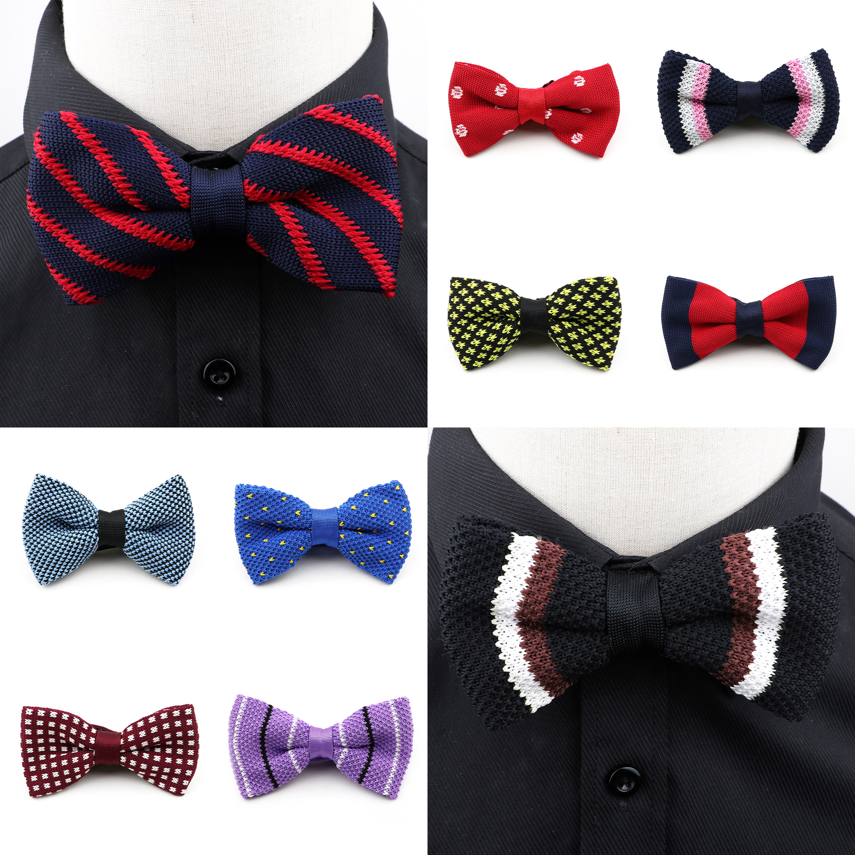 New Men Solid Color Dot Striped Knitted Bow Tie For Mens Pre-Tied Adjustable Thick Knit Bowtie 61colors Casual For Party Tuxedo