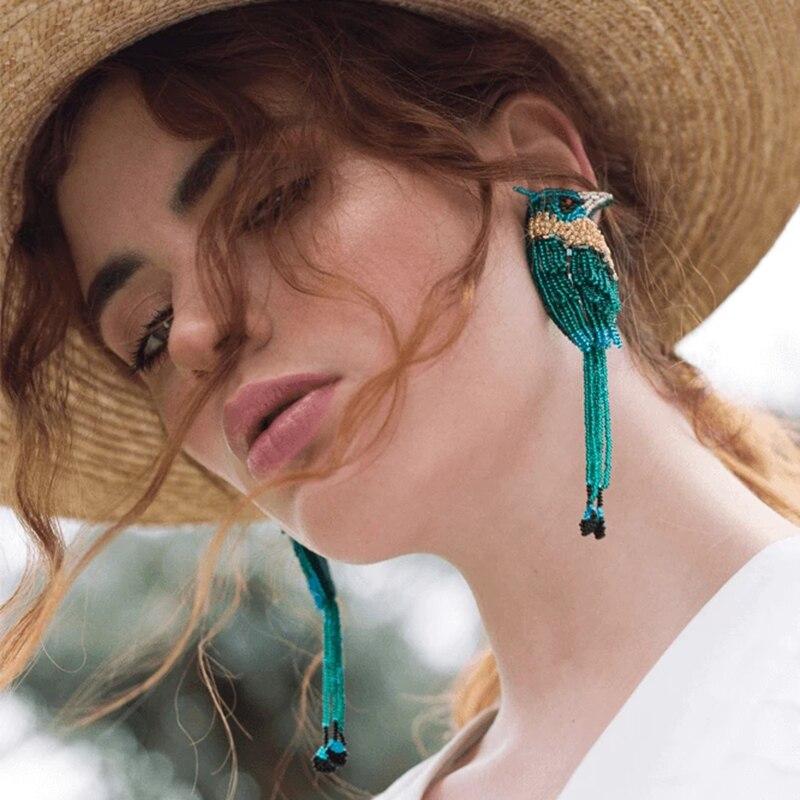Best Lady Bohemia Handmade Beaded Bird Earrings For Women Multi Color Animal Fashion Jewelry Wedding Statement Earrings Gift New