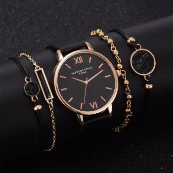 5pcs Set Top Style Fashion Women's Luxury Leather Band Analog Quartz WristWatch Ladies Watch Women Dress Reloj Mujer Black Clock 2