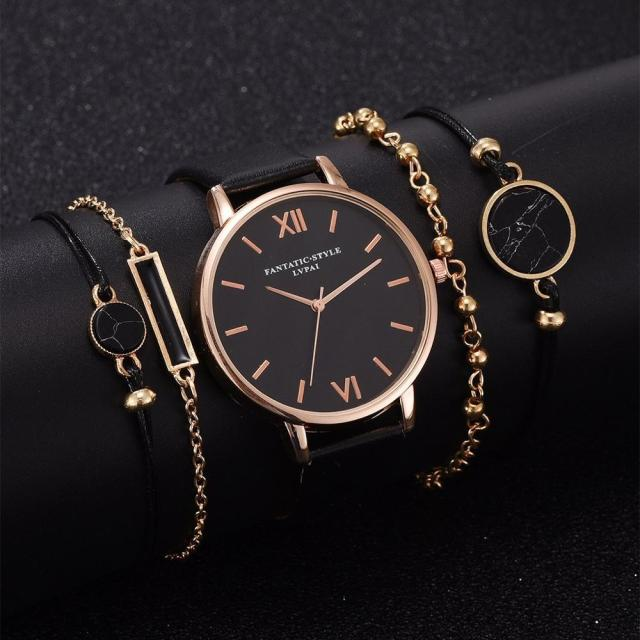 5pcs Set Top Style Fashion Women's Luxury Leather Band Analog Quartz WristWatch Ladies Watch Women Dress Reloj Mujer Black Clock 2