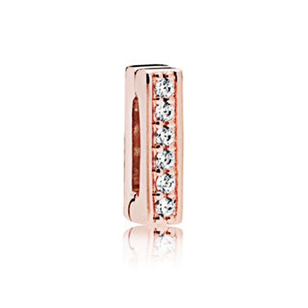 FEOLEO натуральная 925 пробы Серебряная скобка, очаровательные, подходят к оригиналу Pandora браслетов reflexions для Для женщин розового золота Цвет ювелирные изделия - Окраска металла: PAX013-C