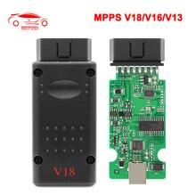 MPPS V18 Chip de interfaz OBD automático 2 OBD2 ecus MPPS V16 V13 para EDC15 EDC16 EDC17 Multi idioma puede ECU Flasher reasignar Cable
