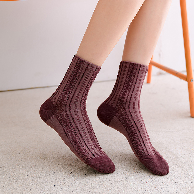 Fashion Women Socks 2020 New Spring Color Women Fashion Color Thin Long National Socks Women Breathable Trendy Sock Korea Style