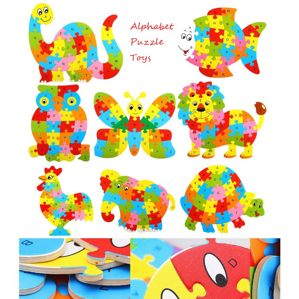 Education For Kids Fun Learning Toys For Children Baby Wooden Wood Animal Puzzle Numbers Alphabet Learning Educational Toy Y109