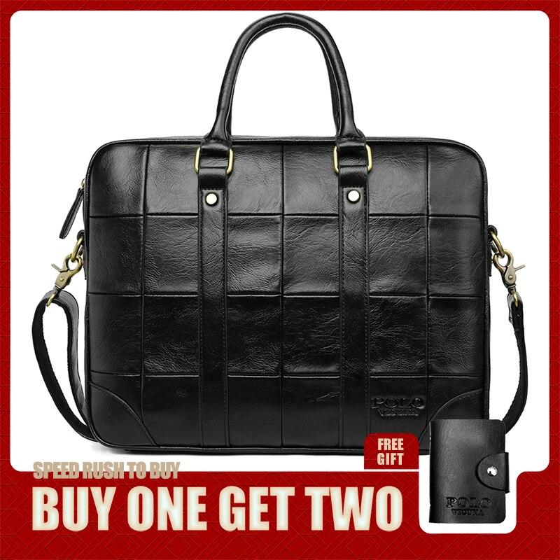 VICUNA POLO Classic Big Plaid Design Black Mens Leather Laptop Briefcase Solid Fashion Men's Leather Handbag Shoulder Bags