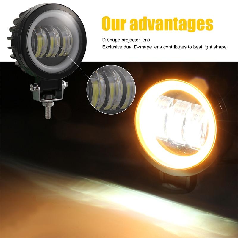 4-Inch Motorcycle Spotlights Led SUV IP67 Work Light External Square Angel Eyes Spotlights Color Temperature 6000K 3
