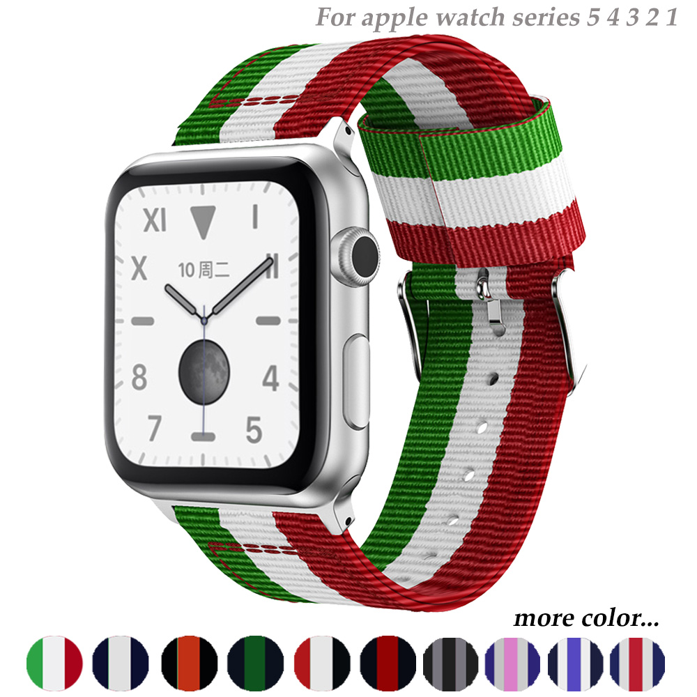 Nato Strap For Apple Watch 5 4 Band 44mm/42mm Iwatch 3 Band 40mm/38m Pulseira Woven Canvas Wrist Bracelet Belt Watch Accessories