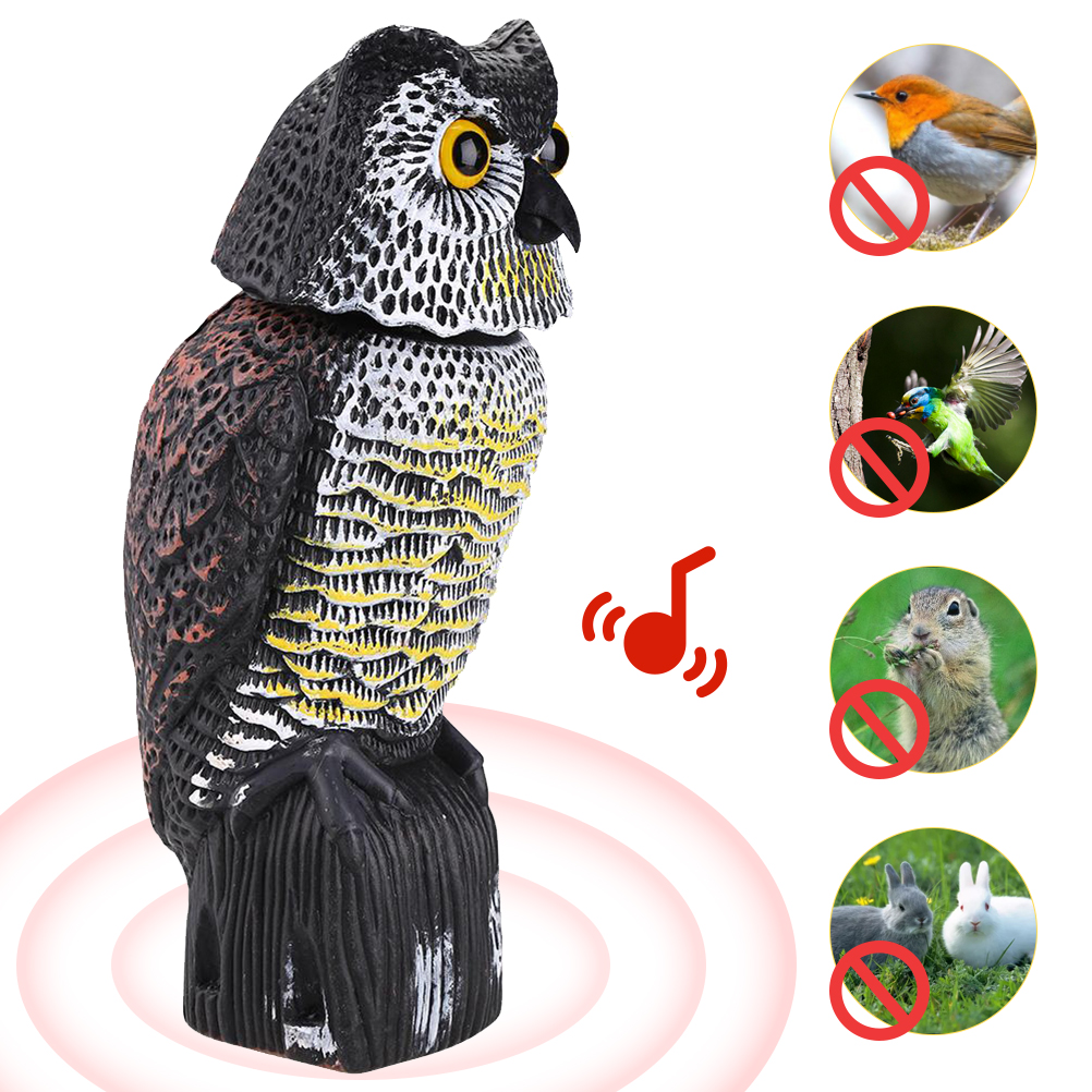 Realistic Fake Owl Bird Scarecrow Predator Decoy Pest Bird Repeller Fake Owl Statue To Scare Bird Away For Patio Yard Garden