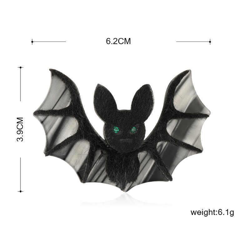 Blucome Vivid Acrilico Nero Bat Spilla Fatta a Mano Maglione Del Pendente Del Pendente di Fiber di Cuoio Animale Spilla per Le Donne Sciarpa Accessori Regali