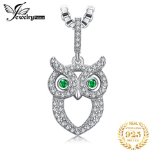 Jpalace Owl Simulated Nano Emerald Pendant Necklace 925 Sterling Silver Gemstones Choker Statement Necklace Women Without Chain jewelrypalace 3ct created ruby pendant necklace 925 sterling silver gemstones choker statement necklace women without chain