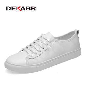 DEKABR Sneakers Men Shoes New Fashion Genuine Leather Casual Flats Shoes Men Lace-up Breathable Walking Shoes Zapatillas Hombre