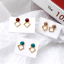 Retro new simple geometric shape metal earrings fashion creative women delicate and pretty girls