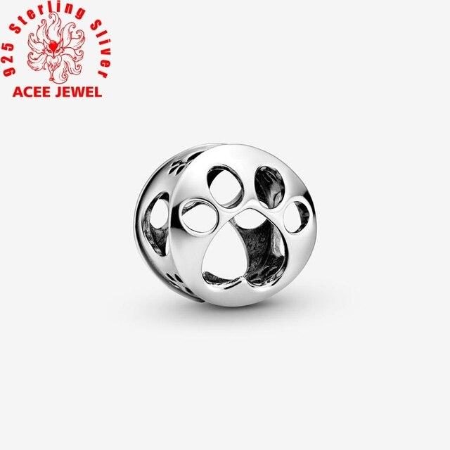 2020 wiosna nowy 925 srebro koraliki musujące Paw druku i serce Charms fit oryginalny Pandora bransoletki kobiety DIY biżuteria