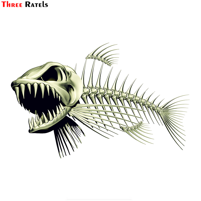 Three Ratels FTC-883 #18cm x 11,7 cm esqueleto espeluznante pescado adhesivo para coche de pesca calcomanías 3D estilo de etiqueta Accesorios