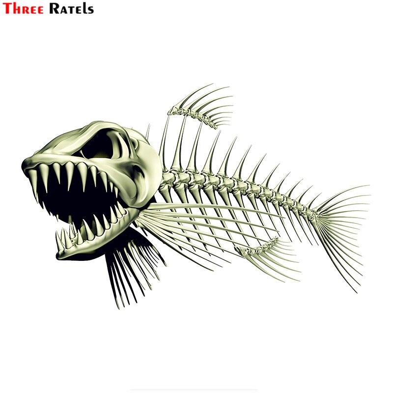 Trois Ratels FTC-883 #18cm x 11.7cm effrayant squelette poisson pêche voiture autocollant décalcomanies 3D style moto décalcomanie accessoires
