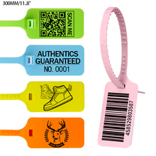 100 Custom Brand Tag Zip Tie Off Labels White Plastic Security Garment Clothes Shoe Personalized Logo Hang Tag Seals 300mm/11.8