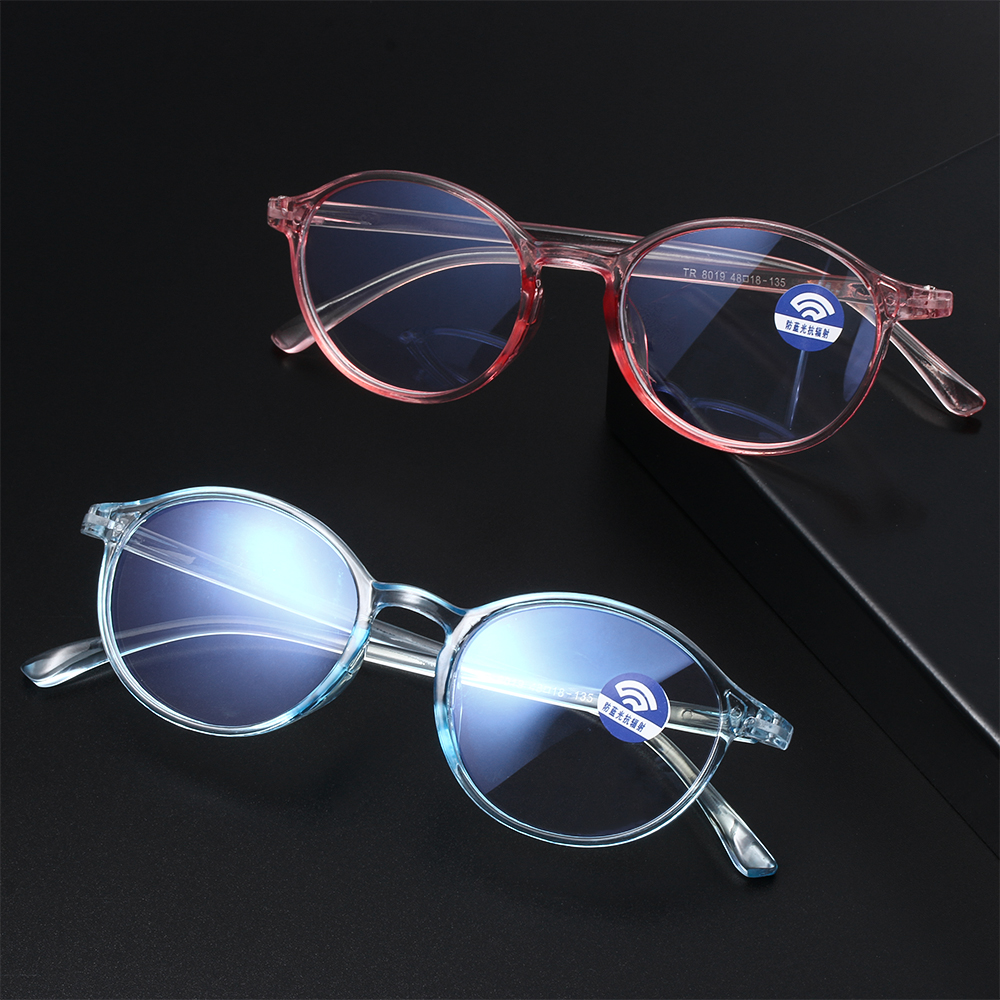 Hot Classic Round Frame TR90 Flat Mirror Anti Blue Light Radiation Protection Glasses Ultralight Flexible Vision Care Eyewear