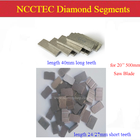 NCCTEC Diamond Segments Teeth Tooth Heads For Diameter 20'' Inch 500mm Saw Blade Cutting Disc Disk Wheel Plate FREE SHIPPING