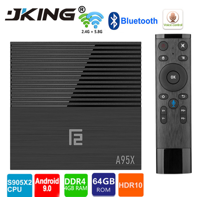 Tv box android 9.0 Amlogic S905x2 A95x F2 android tv box 4GB 32GB 64GB bluetooth 2.4/5G wifi voix Contorl Smart tv android box