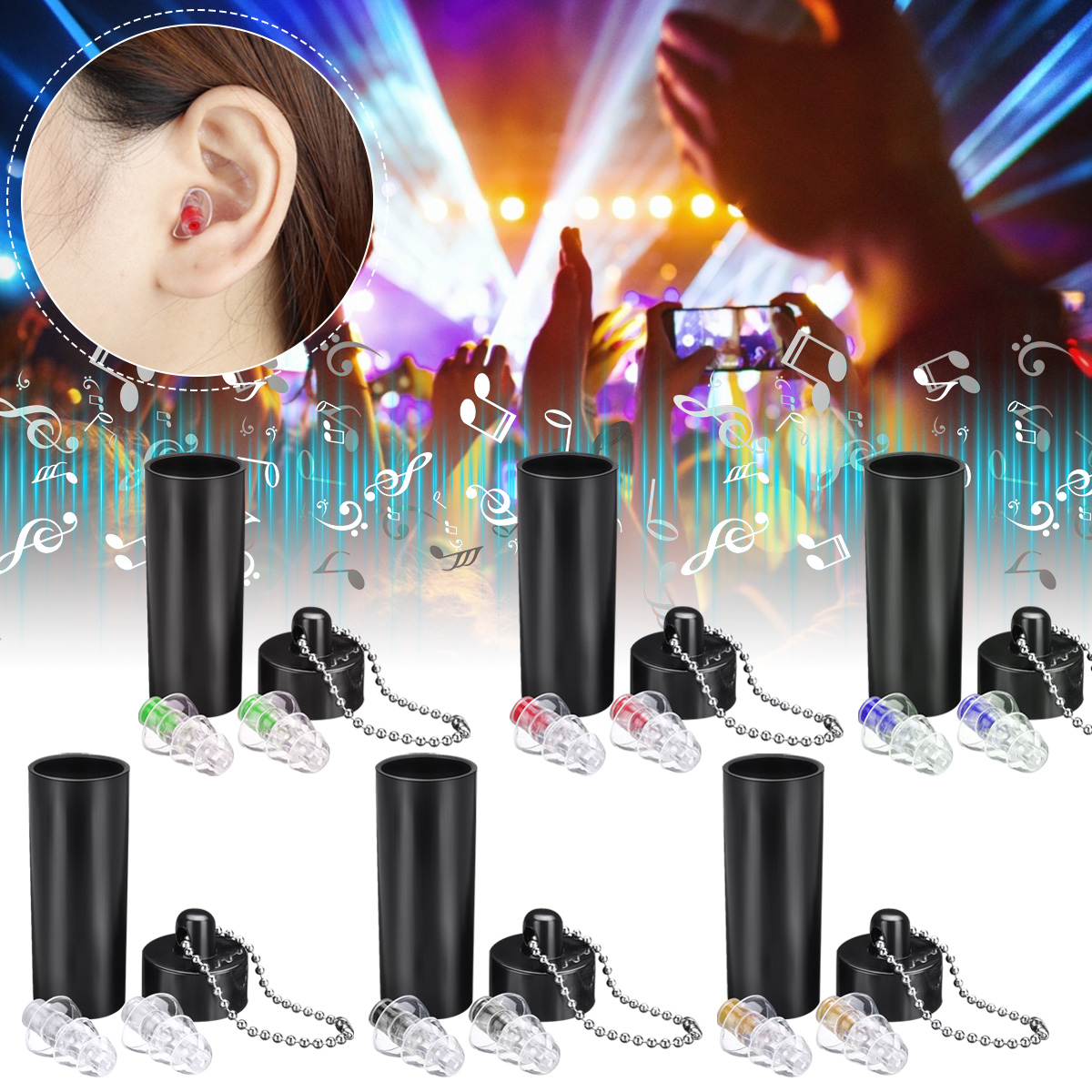 Hearing Protection Earplug Concert Musician Sleep-Care Cancelling Motorcycle Reusable