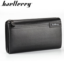 baellerry men's clutch bag business casual large-capacity lychee pattern zipper handbag wallet hand grip Support name engraving
