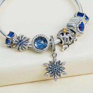 925 пробы Серебряный разделитель амулеты синий кубик льда разделитель Шарм Wishbone Bead Fit Pandora оригинальный Шарм браслет DIY ювелирные изделия