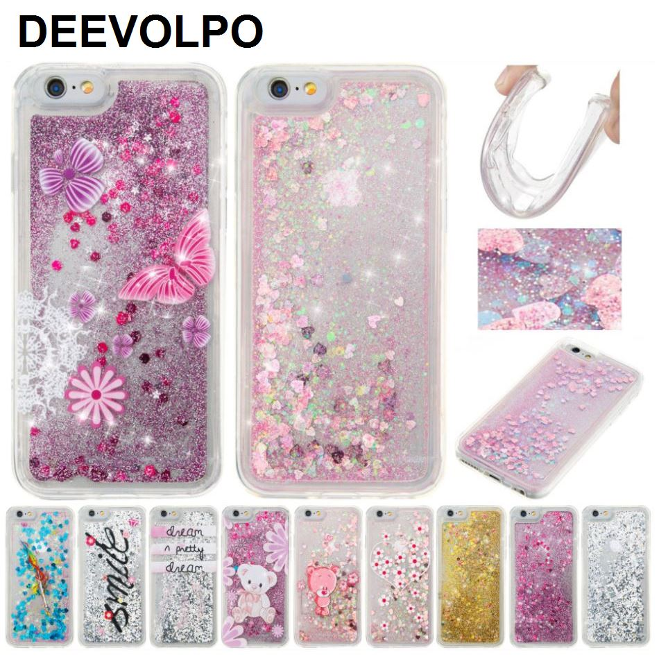 DEEVOLPO Quicksand Pattern Case For iPhone 7 Plus 4 4S 5 5S 5C 6 6S Glitter Cover Touch Beauty Girl Flowing Fundas DP03J