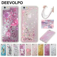 DEEVOLPO Quicksand Pattern Case For iPhone 7 Plus 4 4S 5 5S 5C 6 6S Glitter Cover For Touch 5 6 Beauty Girl Flowing Fundas DP03J beauty in evening dress pattern protective rhinestone back case for iphone 4 4s white black