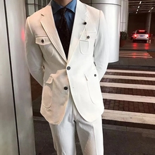 Tooling-Suits Blazer-Set Jacket Tuxedo Wedding New White for Men 2pieces Slim-Fit Groom