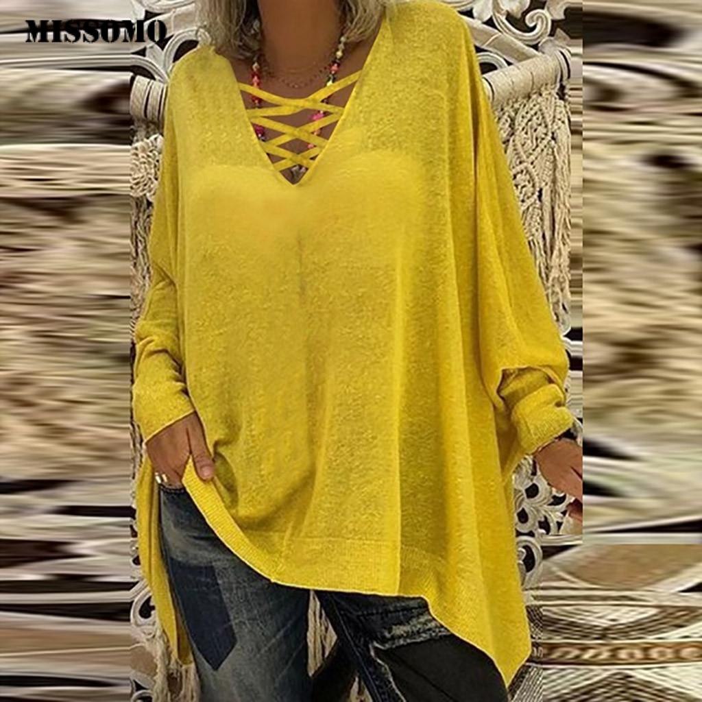 MISSOMO Vintage T Shirt Women Loose Plus Size 5XL Long Sleeve V-neck Pullover Women Tops Shirt Streetwear Blusas Femininas 821