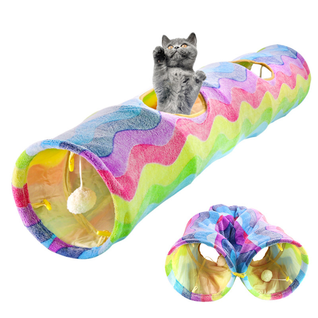 Foldable Pet Cat Tunnel 2 Holes Pet Tube Collapsible Play Toy Indoor Outdoor Kitty Puppy Training Toys Tube with Ball image