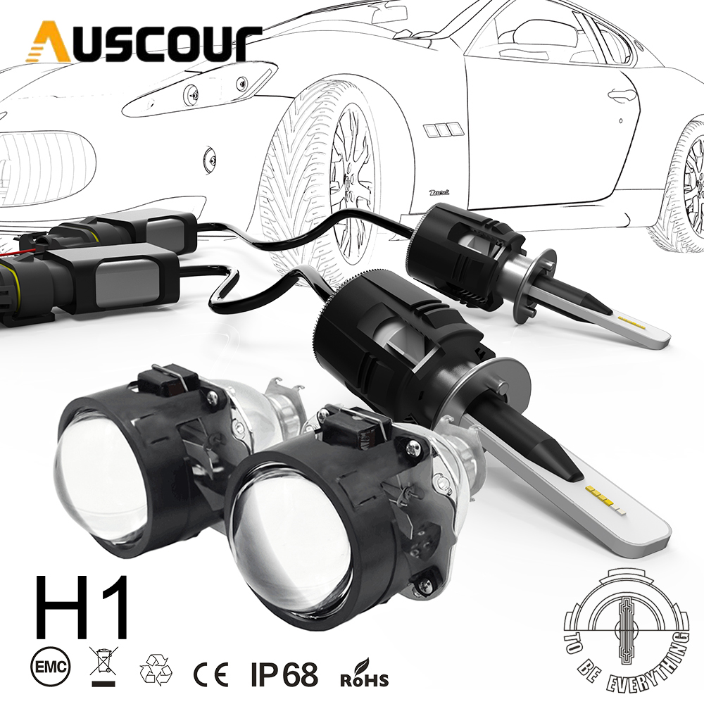 H1 B6 LED Bixenon Hid Car Projector Lens Conversion Kit 42W 5200LM CSP Y11 Chips All In One Pure White 6000K Car Lamp Bulb DIY