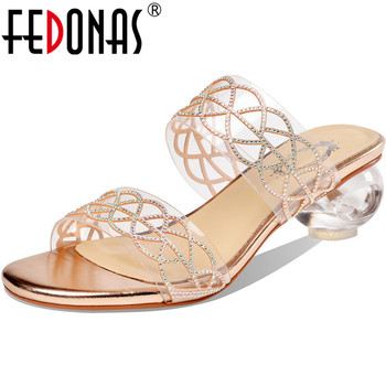 FEDONAS Elegant Fashion Open-Toed Female Slippers Rhinestone Summer Strange Heels Sandals For Women Party Basic Shoes Woman Heel
