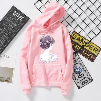 Print Elegant Ladies Pink Long Sleeve Omen Hoodies Outwear Pullover Top Casual Loose Autumn Winter Fahsion Sweatshirs