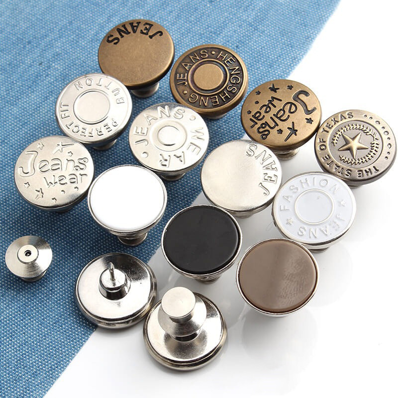 2pcs Snap Fastener Metal Buttons For Clothing Jeans Perfect Fit Adjust Button Self Increase Reduce Waist Free Nail Sew Botones