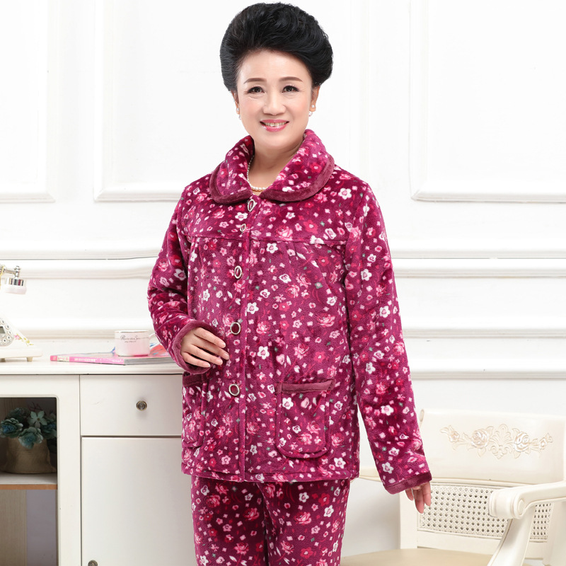 Autumn And Winter Days Thick Flannel Pajamas Women's Middle Aged And Elderly People Cardigan Warm Large Size Coral Velvet Tracks