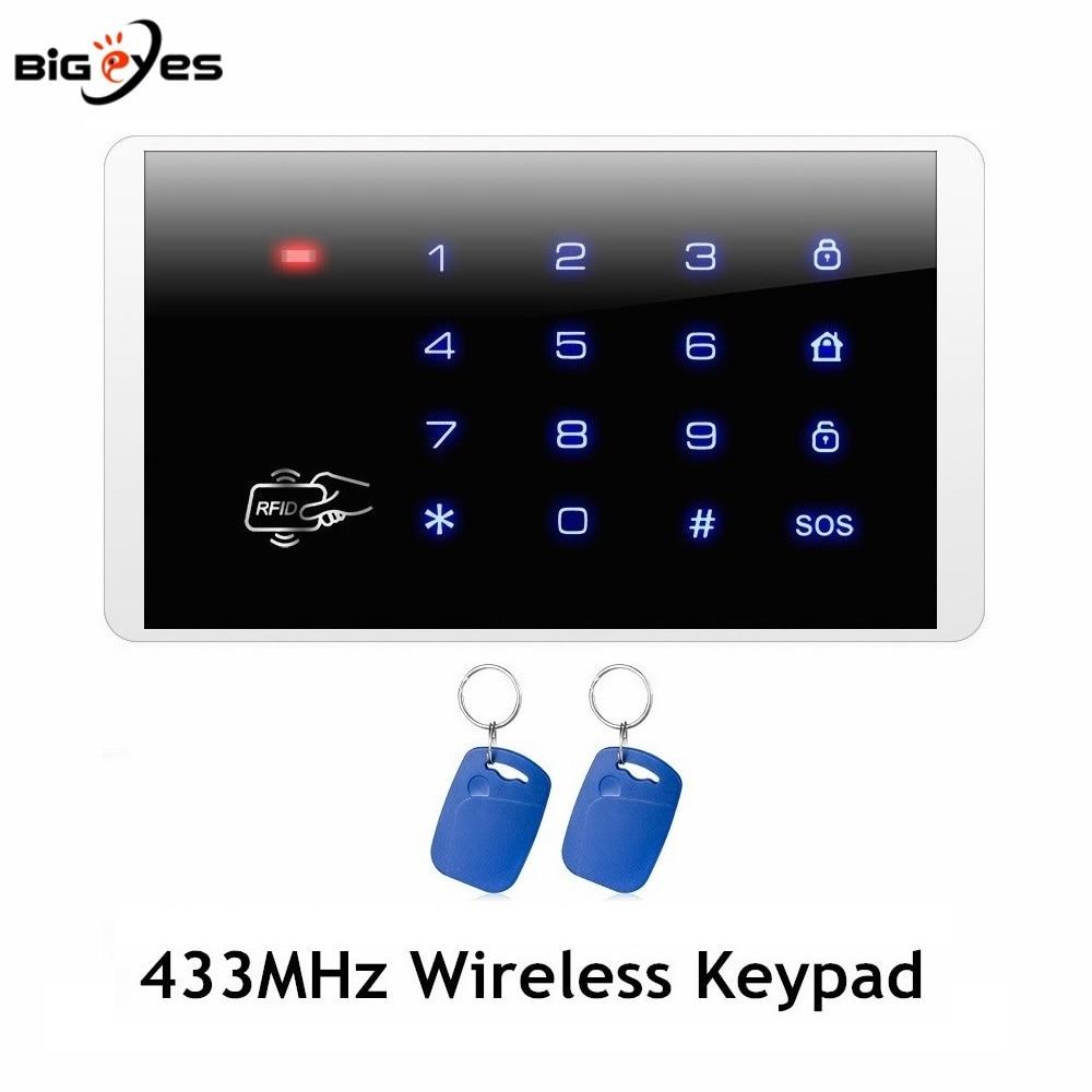 K16 Wireless Keypad 433MHz Wireless Touch Keyboard For Security Burglar Alarm System Wireless Password RFID Keypad system