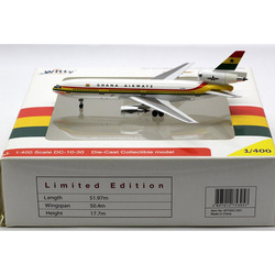 1/400 Scale McDonnell-Douglas GHANA Airlines DC-10-30 Plane Model Alloy Aircraft collectible display Airplanes collection