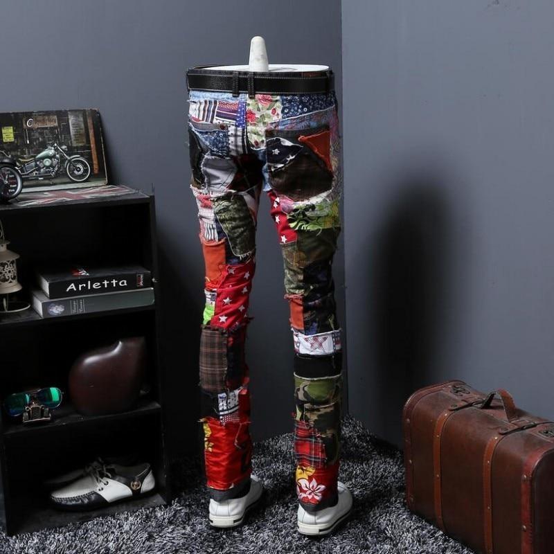 Spring New Fashion Mens Straight Distressed Ripped Hole Jeans Skinny Slim Denim Hip Hop Swag 2020 Street Denim Jeans Size 28-38