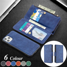 Zipper Wallet Multi Card Holder Phone Case for iPhone 12 Pro Max 11 XS XR X 8 7 6 6S Plus Leather Magnetic Back Cover Coque