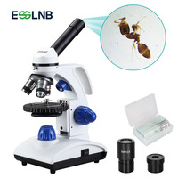 Professional Biological Microscope 40X 1000X with Coaxial coarse and Fine Adjustment Top/Bottom LED for Lab Slides Watching