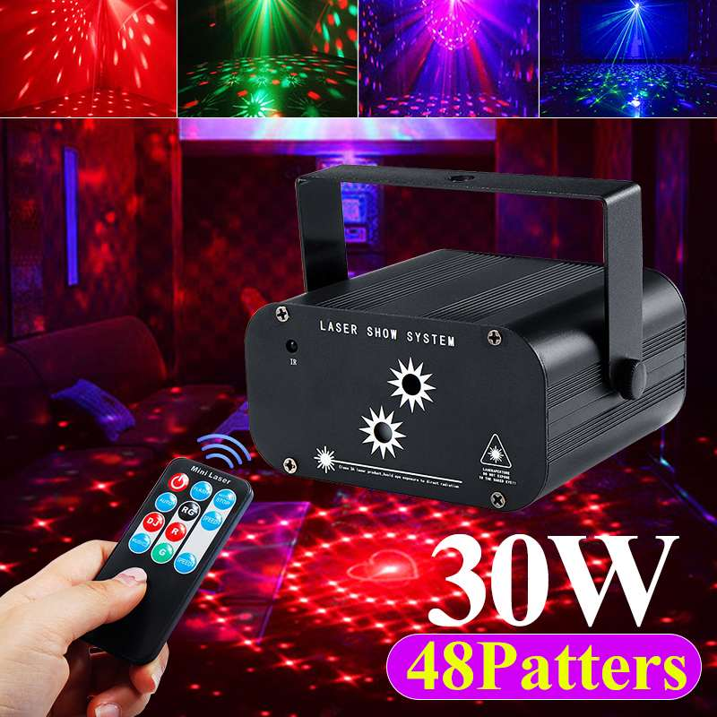Sound Activated Party Light Projection Lamp 48 Mode Strobes Laser Light RGB LED  Light Christmas DJ Club Home KTV Party Bar