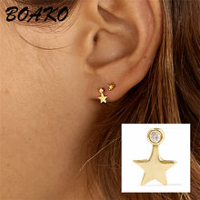 BOAKO Bohemian Crystal Star Stud Earring 925 Sterling Silver Earrings for Women Tiny Ear Studs Piercing Earings Fashion Jewelry(China)