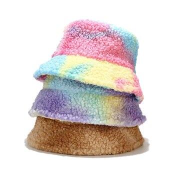 Winter Fishing Hat Fashion Korean Tie Dye Multicolor Bucket Hat Women Men Warm Faux Fur Fishermant Hat bob chapeau fashion wifi signal pattern bucket hat for men
